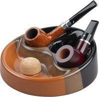Ceramic Pipe Ashtray Black/Brown