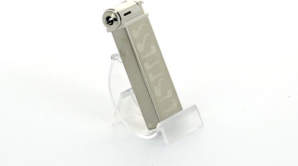 Sarome Pipe Lighter Silver Super Satin with Pipe Designs