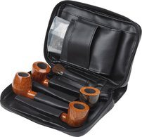 Nappa Leather Pipe Bag Black (holds 6)