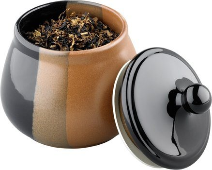Ceramic Tobacco Jar Black/Brown